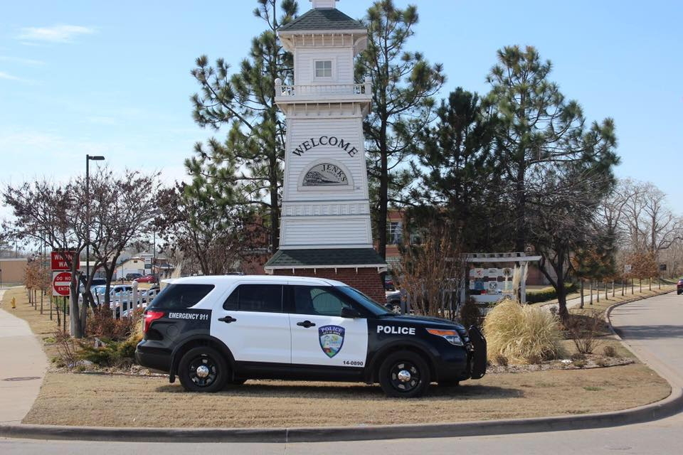 Jenks Police Department Ford Explorer Black and White in front of Light House